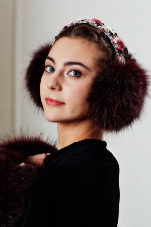 Earmuffs Decorated Burgundy with Stones