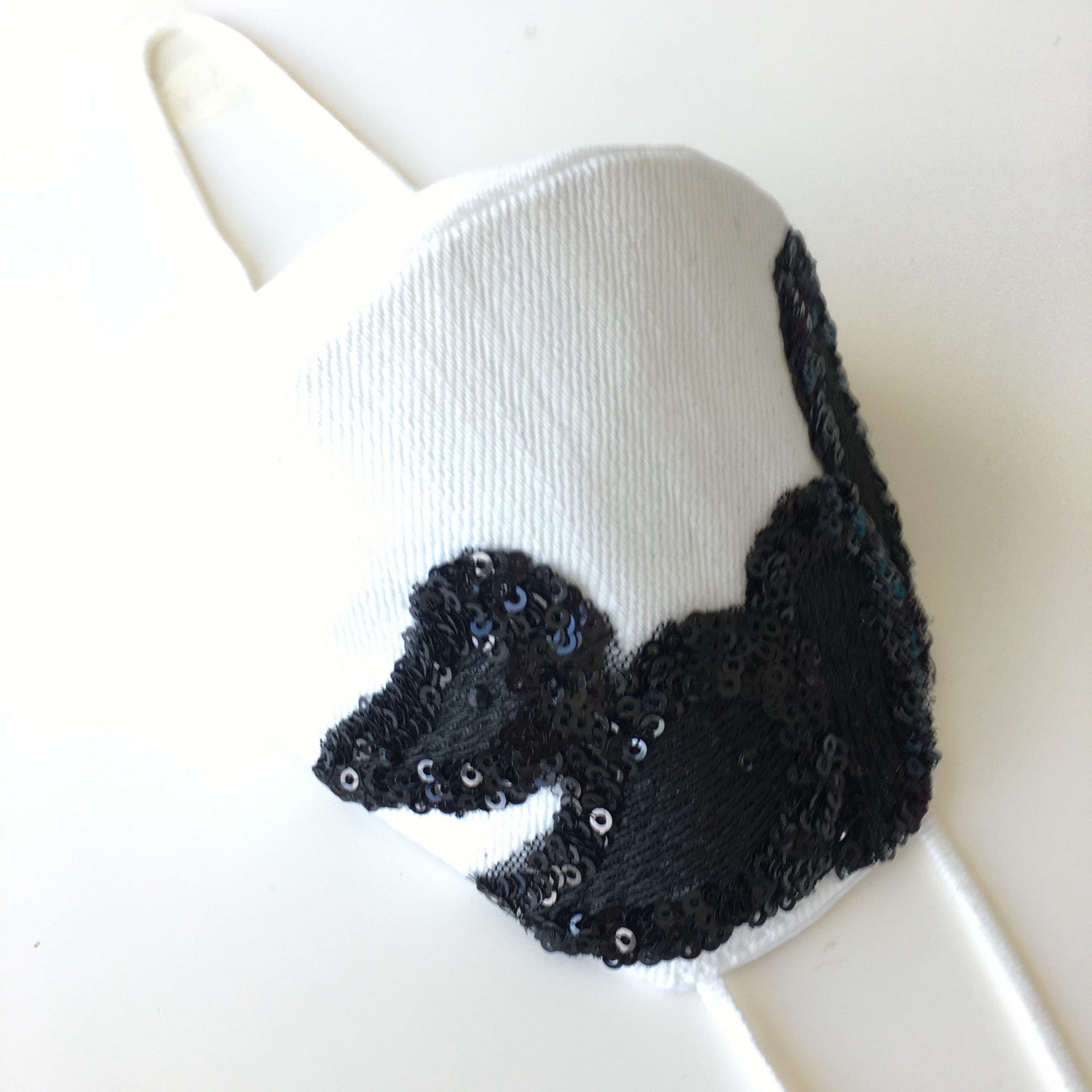 Protective Face Mask White with Black Embroidery