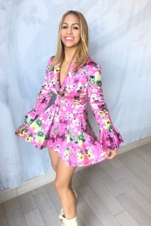 Reversible Pink Floral and Green Jacket