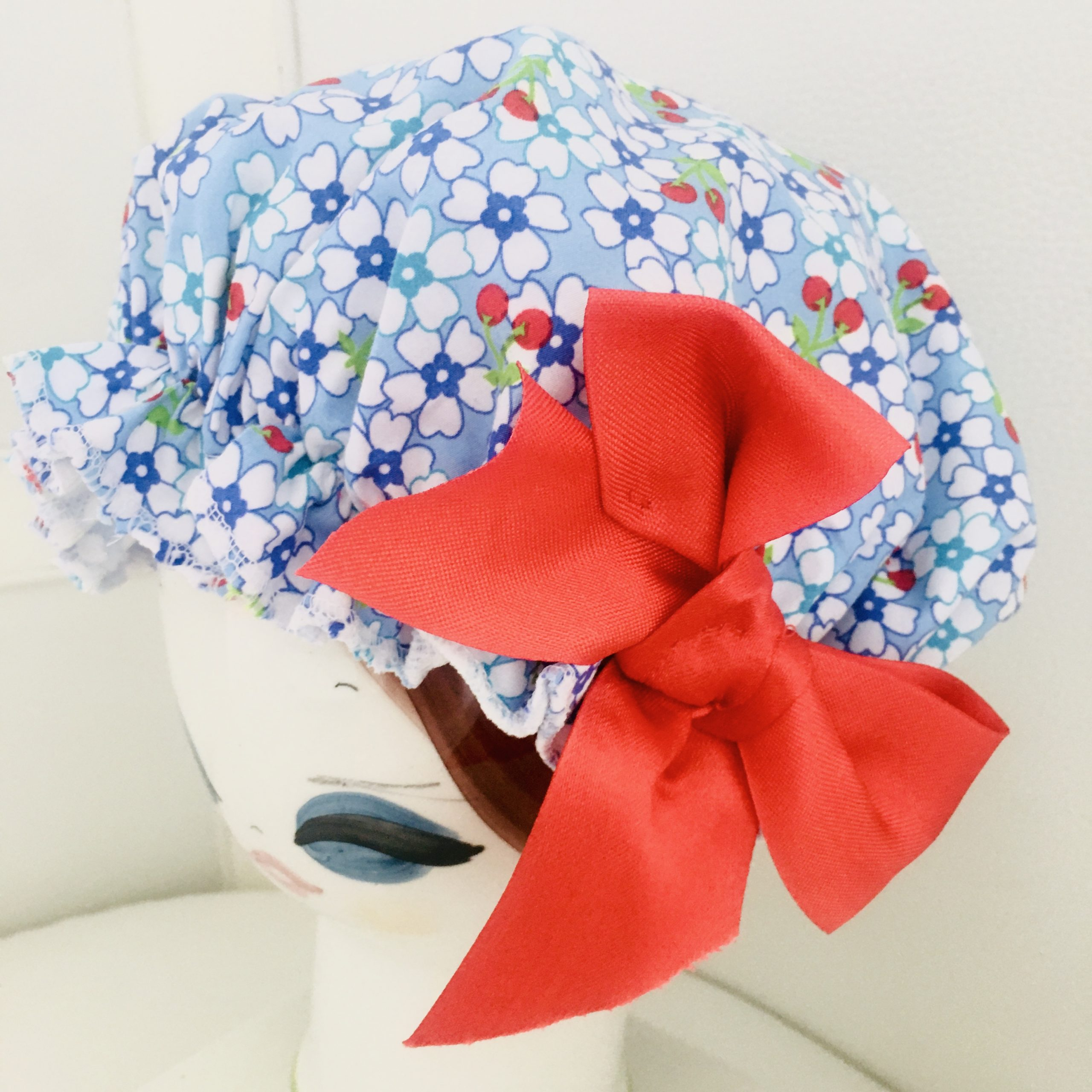 Shower Cap Floral with Red Bow