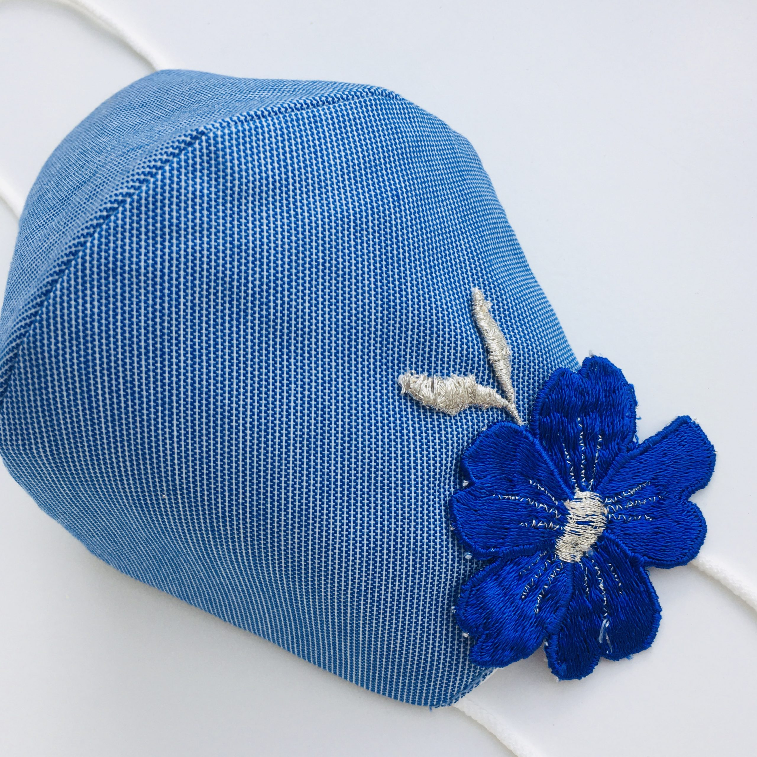 Protective Face Mask Blue with Royal Blue Flower Embroidery